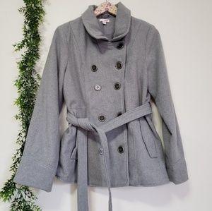BONGO gray belted Peacoat XL